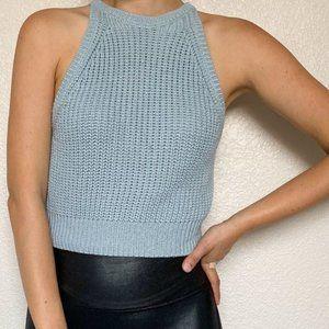 Full Tilt Blue Knit Halter Crop Top Large